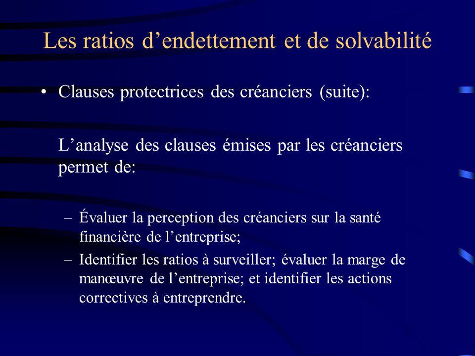 Les ratios dendettement et de solvabilité Clauses protectrices des créanciers (suite): Lanalyse des clauses émises par les créanciers permet de: –Éval