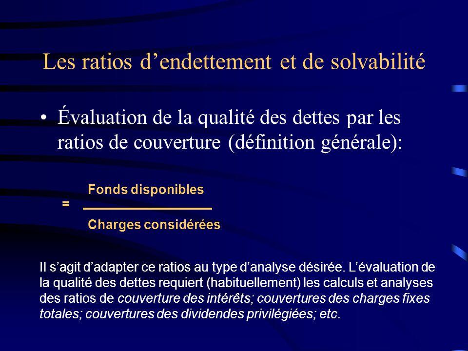 Les ratios dendettement et de solvabilité Évaluation de la qualité des dettes par les ratios de couverture (définition générale): = Fonds disponibles Charges considérées Il sagit dadapter ce ratios au type danalyse désirée.