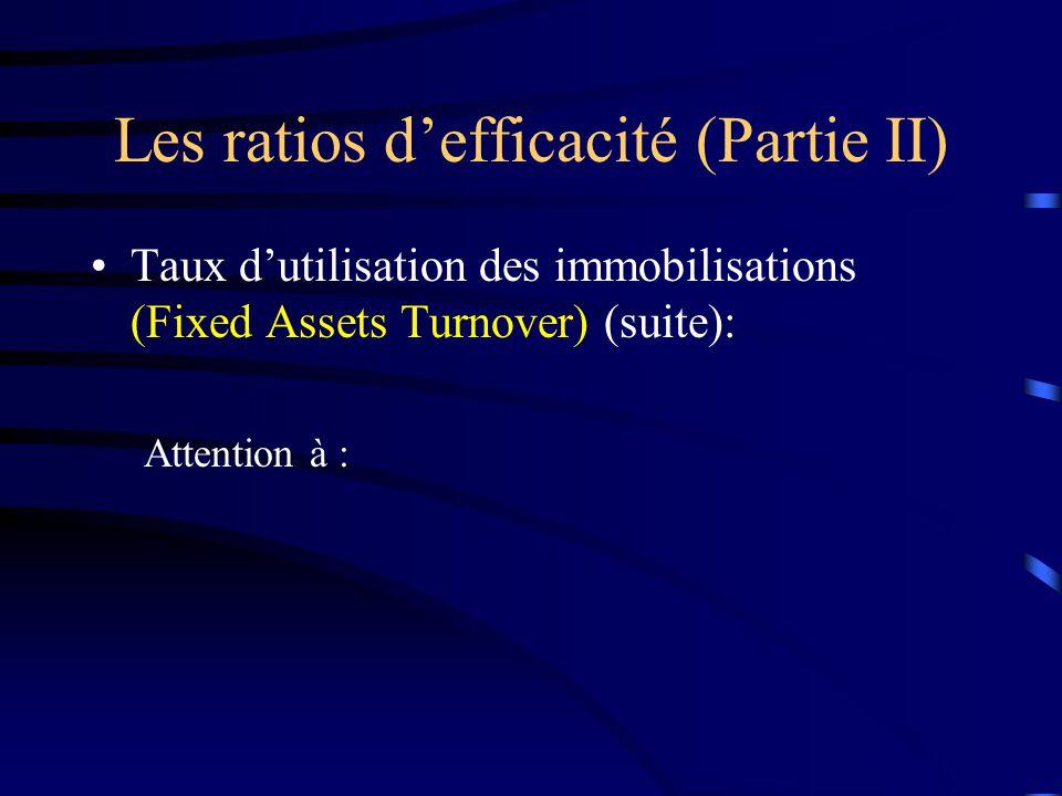 Les ratios defficacité (Partie II) Taux dutilisation des immobilisations (Fixed Assets Turnover) (suite): Attention à :