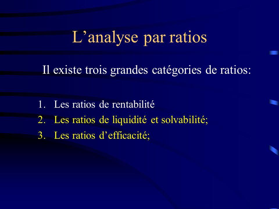 Lanalyse par ratios Il existe trois grandes catégories de ratios: 1.Les ratios de rentabilité 2.Les ratios de liquidité et solvabilité; 3.Les ratios d
