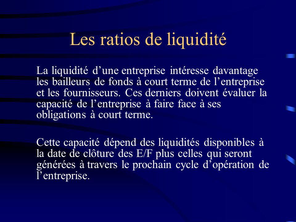 Les ratios de liquidité La liquidité dune entreprise intéresse davantage les bailleurs de fonds à court terme de lentreprise et les fournisseurs. Ces