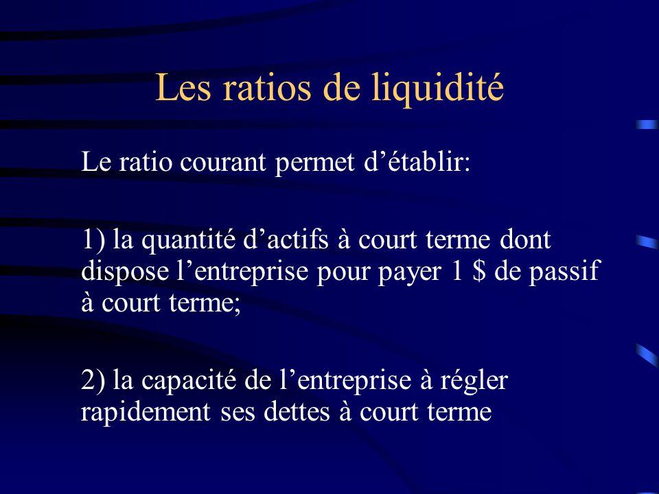Les ratios de liquidité Le ratio courant permet détablir: 1) la quantité dactifs à court terme dont dispose lentreprise pour payer 1 $ de passif à cou