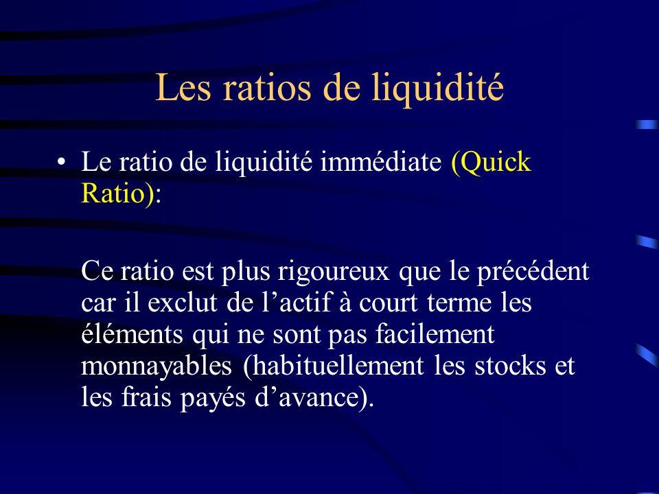 Les ratios de liquidité Le ratio de liquidité immédiate (Quick Ratio): Ce ratio est plus rigoureux que le précédent car il exclut de lactif à court terme les éléments qui ne sont pas facilement monnayables (habituellement les stocks et les frais payés davance).