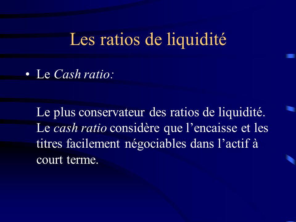 Les ratios de liquidité Le Cash ratio: Le plus conservateur des ratios de liquidité. Le cash ratio considère que lencaisse et les titres facilement né