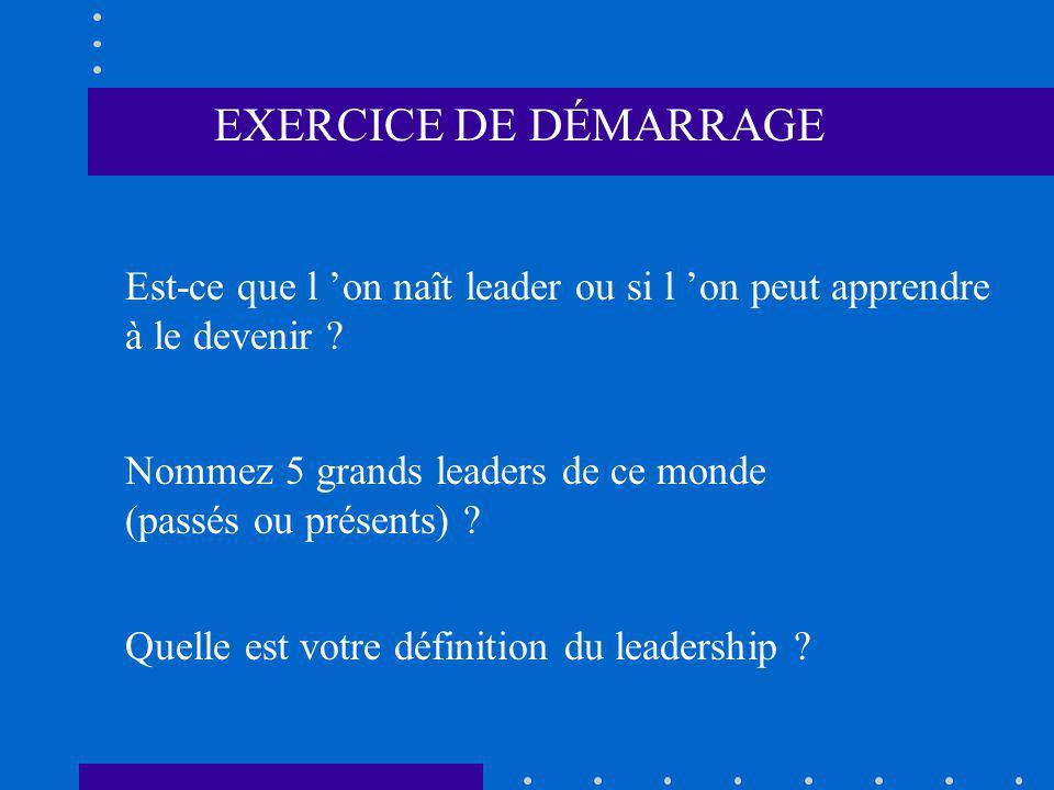 EXERCICE DE DÉMARRAGE Est-ce que l on naît leader ou si l on peut apprendre à le devenir ? Nommez 5 grands leaders de ce monde (passés ou présents) ?