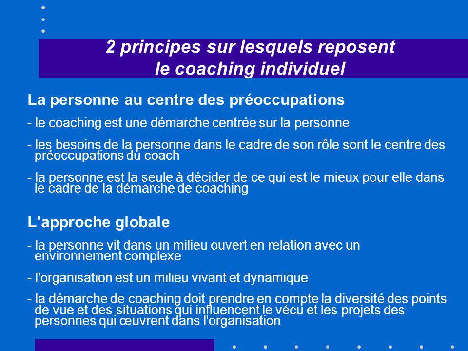 2 principes sur lesquels reposent le coaching individuel La personne au centre des préoccupations - le coaching est une démarche centrée sur la person