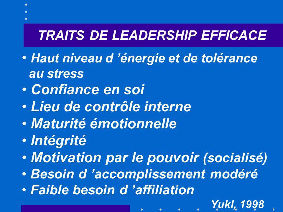 TRAITS DE LEADERSHIP EFFICACE Haut niveau d énergie et de tolérance au stress Confiance en soi Lieu de contrôle interne Maturité émotionnelle Intégrit