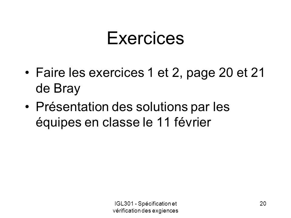 IGL301 - Spécification et vérification des exgiences 20 Exercices Faire les exercices 1 et 2, page 20 et 21 de Bray Présentation des solutions par les équipes en classe le 11 février