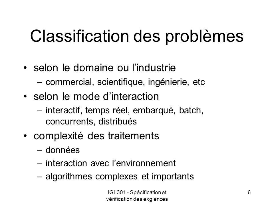 IGL301 - Spécification et vérification des exgiences 17 Exigences de conception se rapporte à la manière de construire le système –système dexploitation –language de programme –base de données –normes