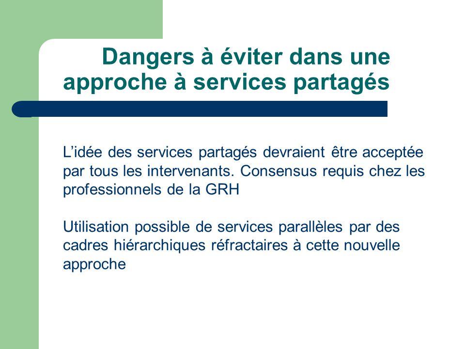 Dangers à éviter dans une approche à services partagés Lidée des services partagés devraient être acceptée par tous les intervenants.
