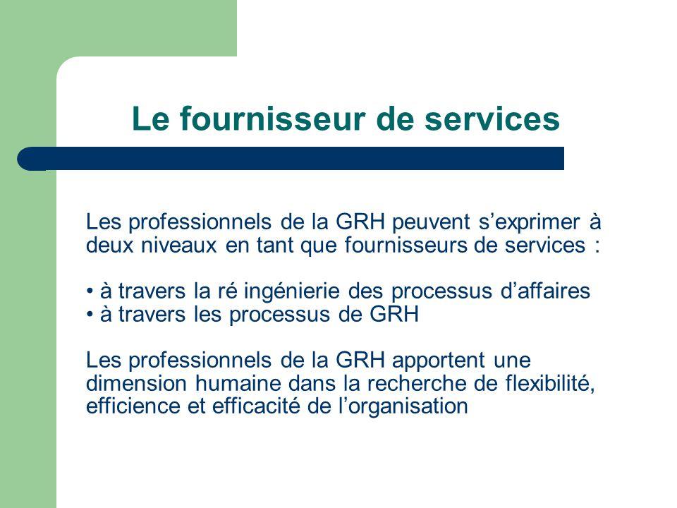 Le fournisseur de services Les professionnels de la GRH peuvent sexprimer à deux niveaux en tant que fournisseurs de services : à travers la ré ingénierie des processus daffaires à travers les processus de GRH Les professionnels de la GRH apportent une dimension humaine dans la recherche de flexibilité, efficience et efficacité de lorganisation
