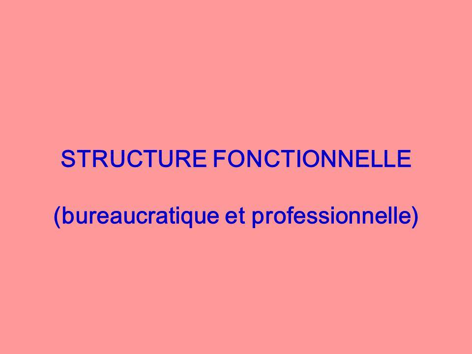 STRUCTURE FONCTIONNELLE (bureaucratique et professionnelle)