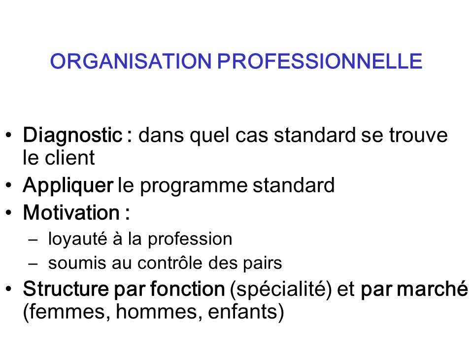 Diagnostic : dans quel cas standard se trouve le client Appliquer le programme standard Motivation : – loyauté à la profession – soumis au contrôle des pairs Structure par fonction (spécialité) et par marché (femmes, hommes, enfants) ORGANISATION PROFESSIONNELLE