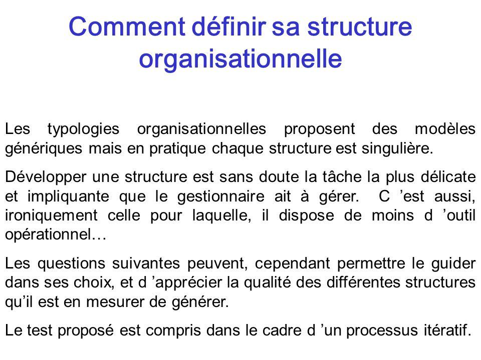 Les typologies organisationnelles proposent des modèles génériques mais en pratique chaque structure est singulière.