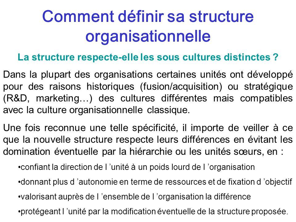 Comment définir sa structure organisationnelle Dans la plupart des organisations certaines unités ont développé pour des raisons historiques (fusion/acquisition) ou stratégique (R&D, marketing…) des cultures différentes mais compatibles avec la culture organisationnelle classique.