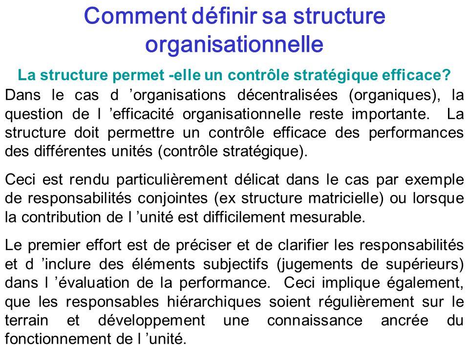 Comment définir sa structure organisationnelle Dans le cas d organisations décentralisées (organiques), la question de l efficacité organisationnelle reste importante.