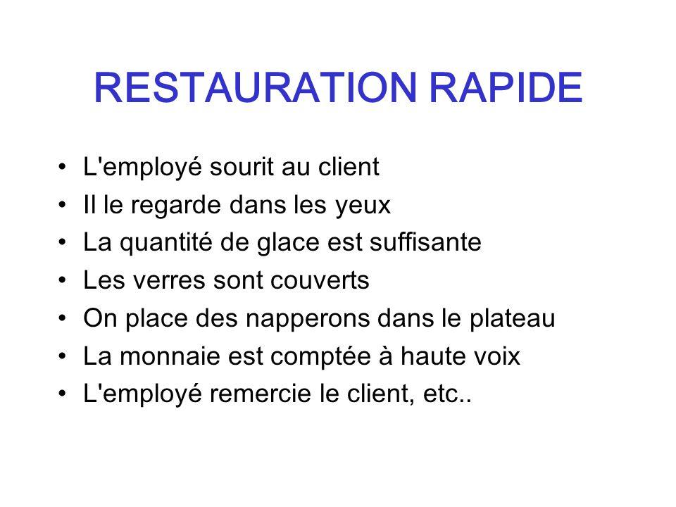 RESTAURATION RAPIDE L'employé sourit au client Il le regarde dans les yeux La quantité de glace est suffisante Les verres sont couverts On place des n