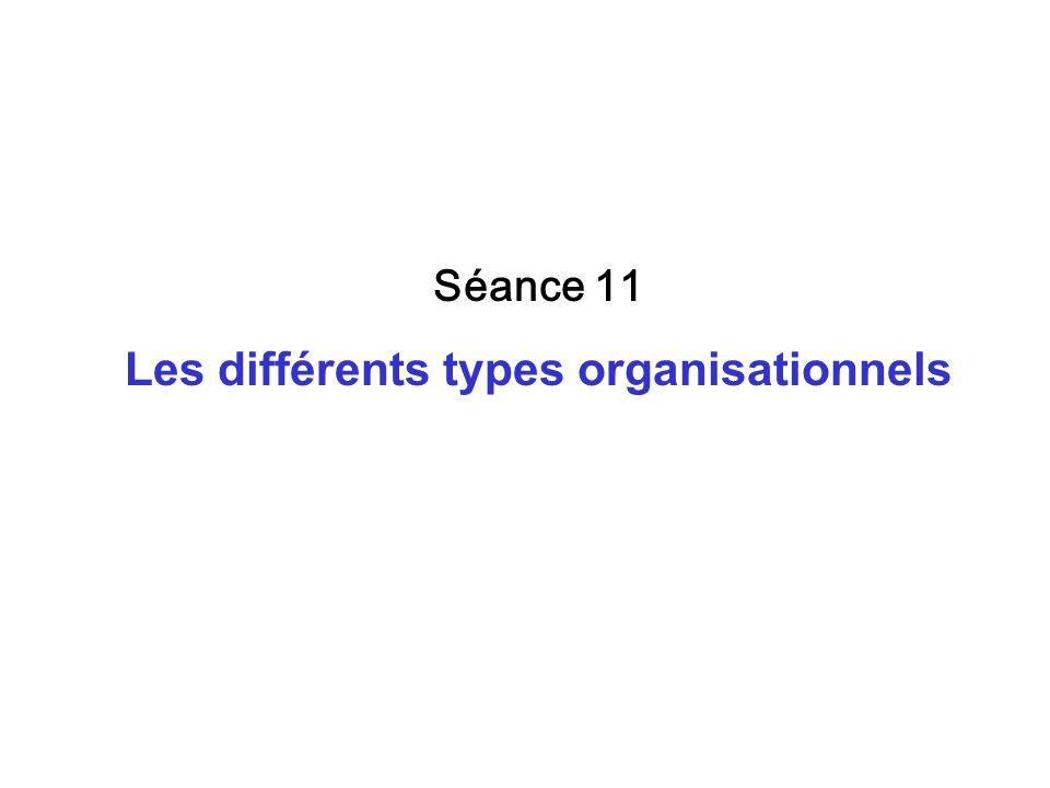 Séance 11 Les différents types organisationnels