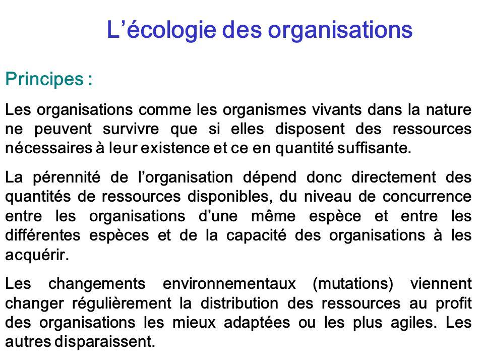 Lécologie des organisations Principes : Les organisations comme les organismes vivants dans la nature ne peuvent survivre que si elles disposent des ressources nécessaires à leur existence et ce en quantité suffisante.