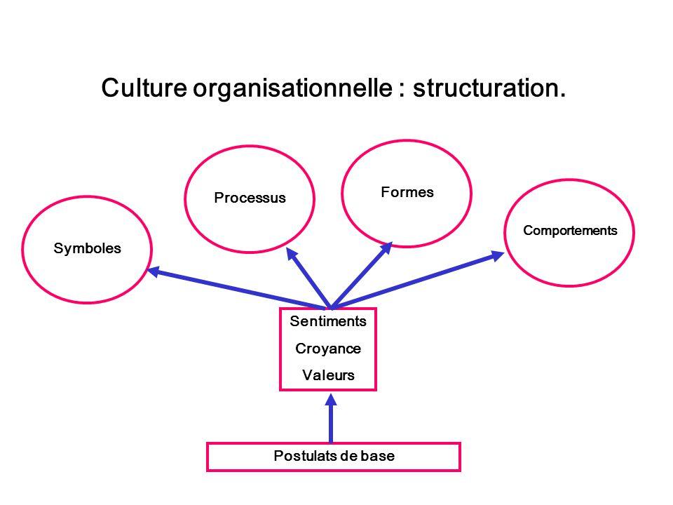 Culture organisationnelle : structuration. Symboles Processus Formes Comportements Sentiments Croyance Valeurs Postulats de base