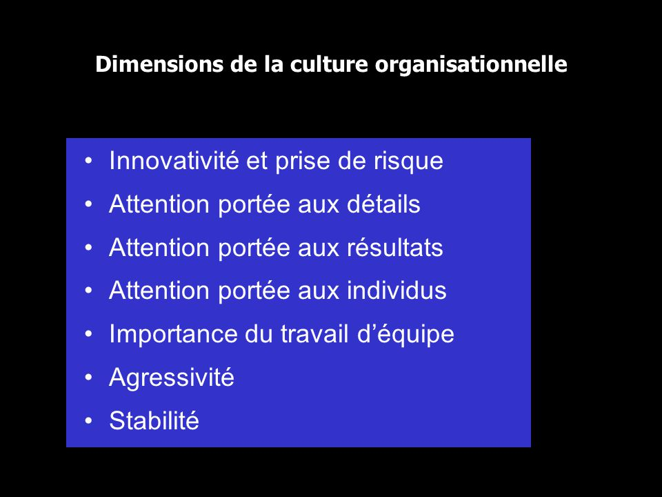 Chapter 1636 Dimensions de la culture organisationnelle Innovativité et prise de risque Attention portée aux détails Attention portée aux résultats At