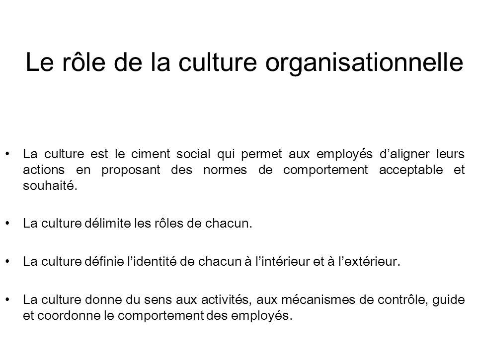 Le rôle de la culture organisationnelle La culture est le ciment social qui permet aux employés daligner leurs actions en proposant des normes de comportement acceptable et souhaité.