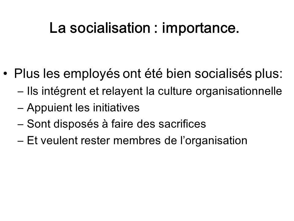 Plus les employés ont été bien socialisés plus: –Ils intégrent et relayent la culture organisationnelle –Appuient les initiatives –Sont disposés à fai