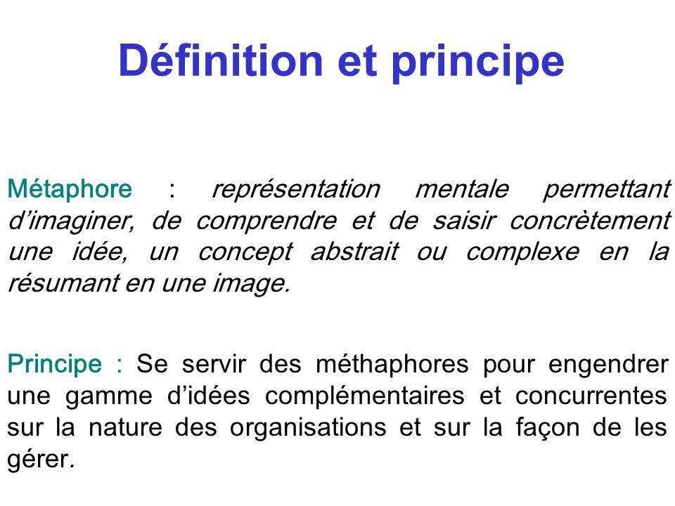 Définition et principe Métaphore : représentation mentale permettant dimaginer, de comprendre et de saisir concrètement une idée, un concept abstrait ou complexe en la résumant en une image.
