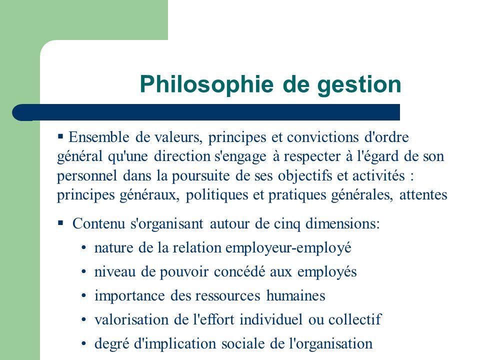 Philosophie de gestion Ensemble de valeurs, principes et convictions d'ordre général qu'une direction s'engage à respecter à l'égard de son personnel