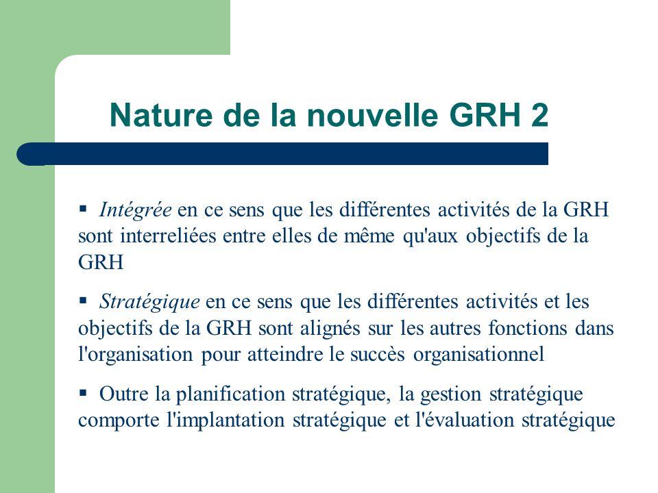 Nature de la nouvelle GRH 2 Intégrée en ce sens que les différentes activités de la GRH sont interreliées entre elles de même qu'aux objectifs de la G