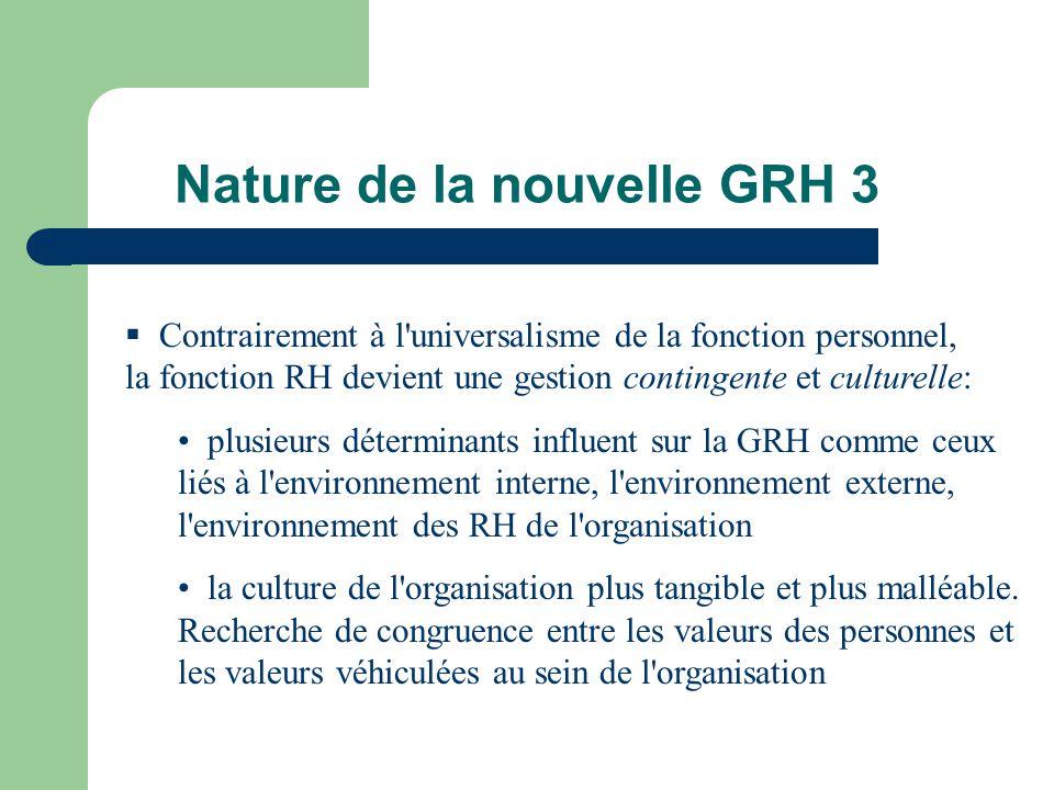 Nature de la nouvelle GRH 3 Contrairement à l'universalisme de la fonction personnel, la fonction RH devient une gestion contingente et culturelle: pl