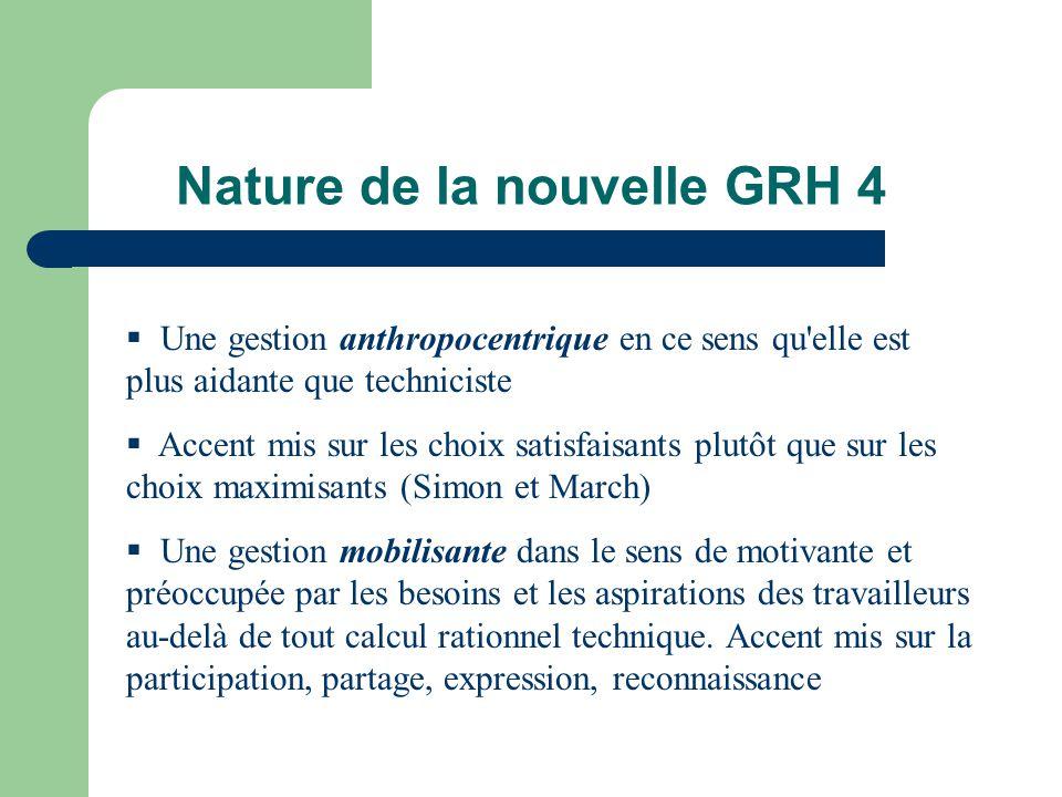 Nature de la nouvelle GRH 4 Une gestion anthropocentrique en ce sens qu'elle est plus aidante que techniciste Accent mis sur les choix satisfaisants p
