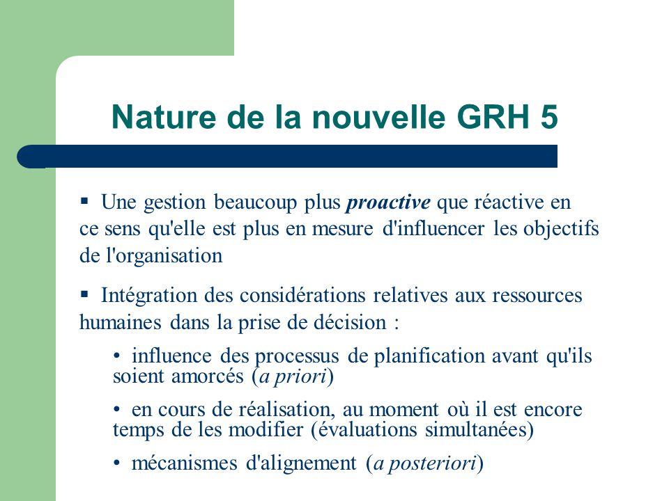 Nature de la nouvelle GRH 5 Une gestion beaucoup plus proactive que réactive en ce sens qu'elle est plus en mesure d'influencer les objectifs de l'org