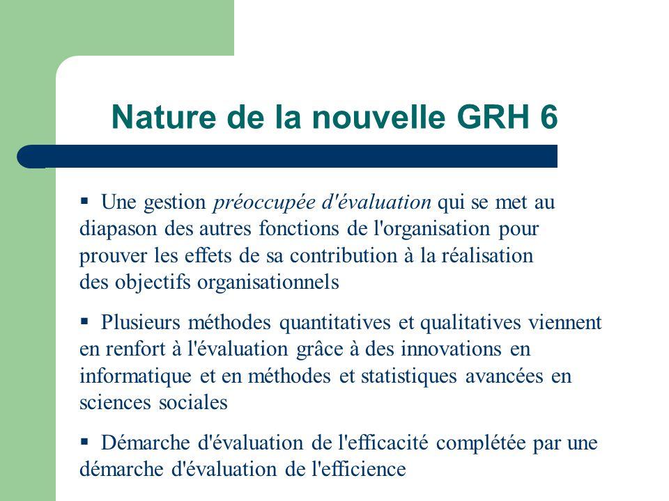 Nature de la nouvelle GRH 6 Une gestion préoccupée d'évaluation qui se met au diapason des autres fonctions de l'organisation pour prouver les effets