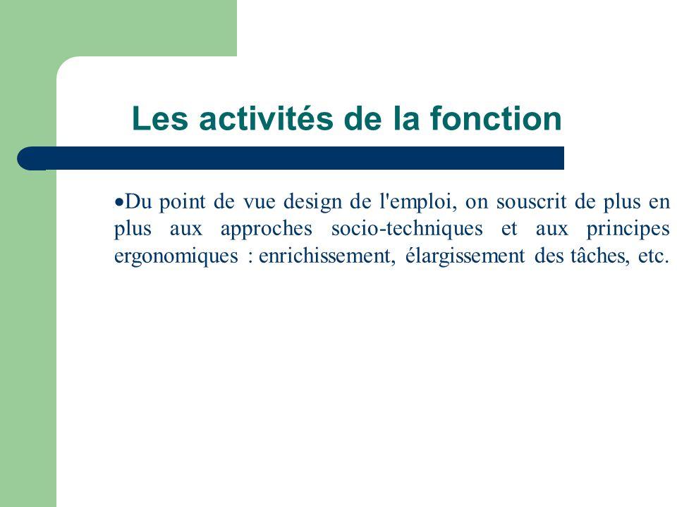 Les activités de la fonction Du point de vue design de l'emploi, on souscrit de plus en plus aux approches socio-techniques et aux principes ergonomiq