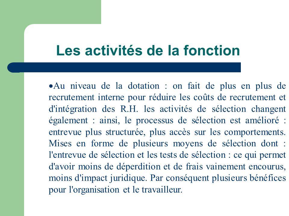 Les activités de la fonction Au niveau de la dotation : on fait de plus en plus de recrutement interne pour réduire les coûts de recrutement et d'inté