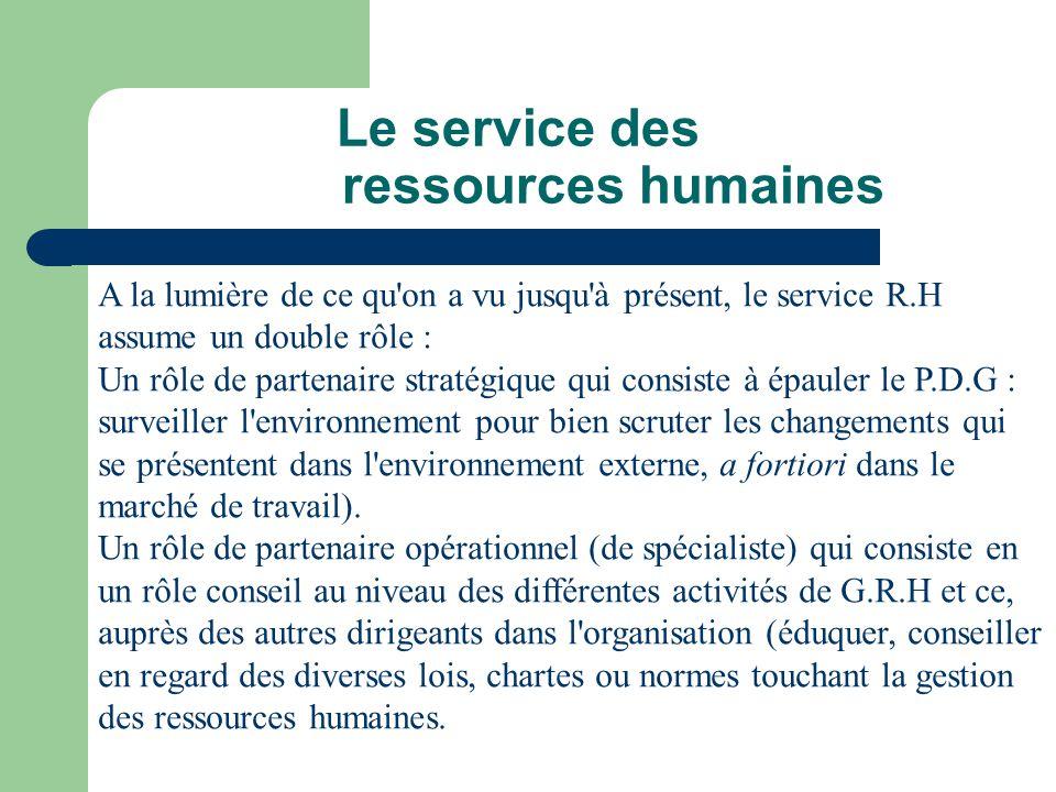 Le service des ressources humaines A la lumière de ce qu'on a vu jusqu'à présent, le service R.H assume un double rôle : Un rôle de partenaire stratég
