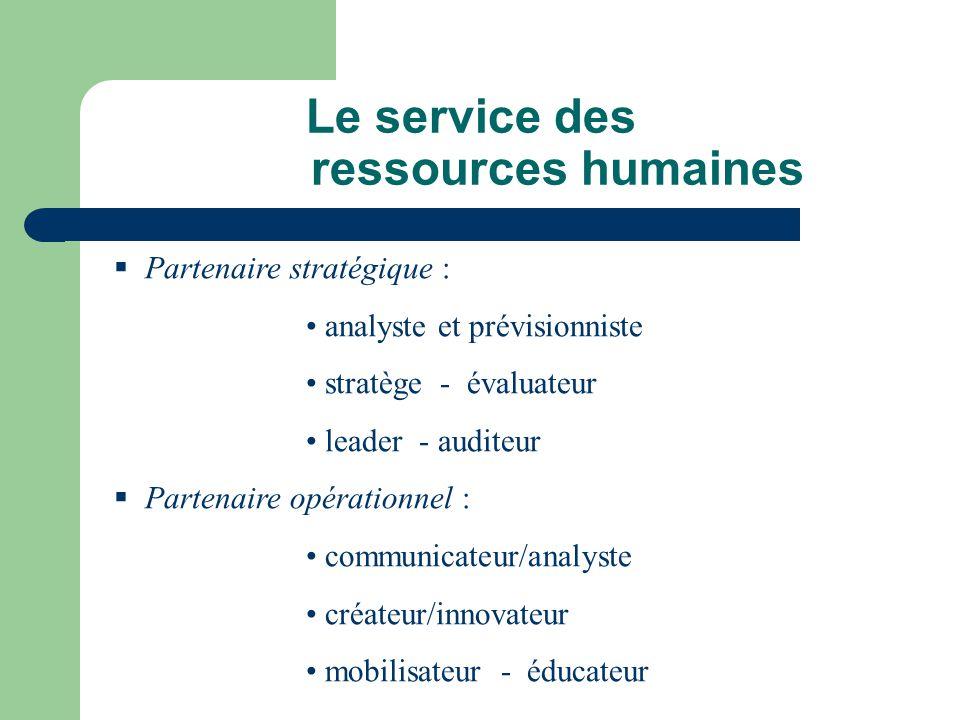 Le service des ressources humaines Partenaire stratégique : analyste et prévisionniste stratège - évaluateur leader - auditeur Partenaire opérationnel