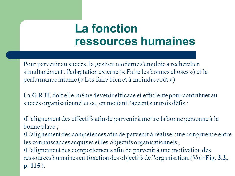 La fonction ressources humaines Pour parvenir au succès, la gestion moderne s'emploie à rechercher simultanément : l'adaptation externe (« Faire les b