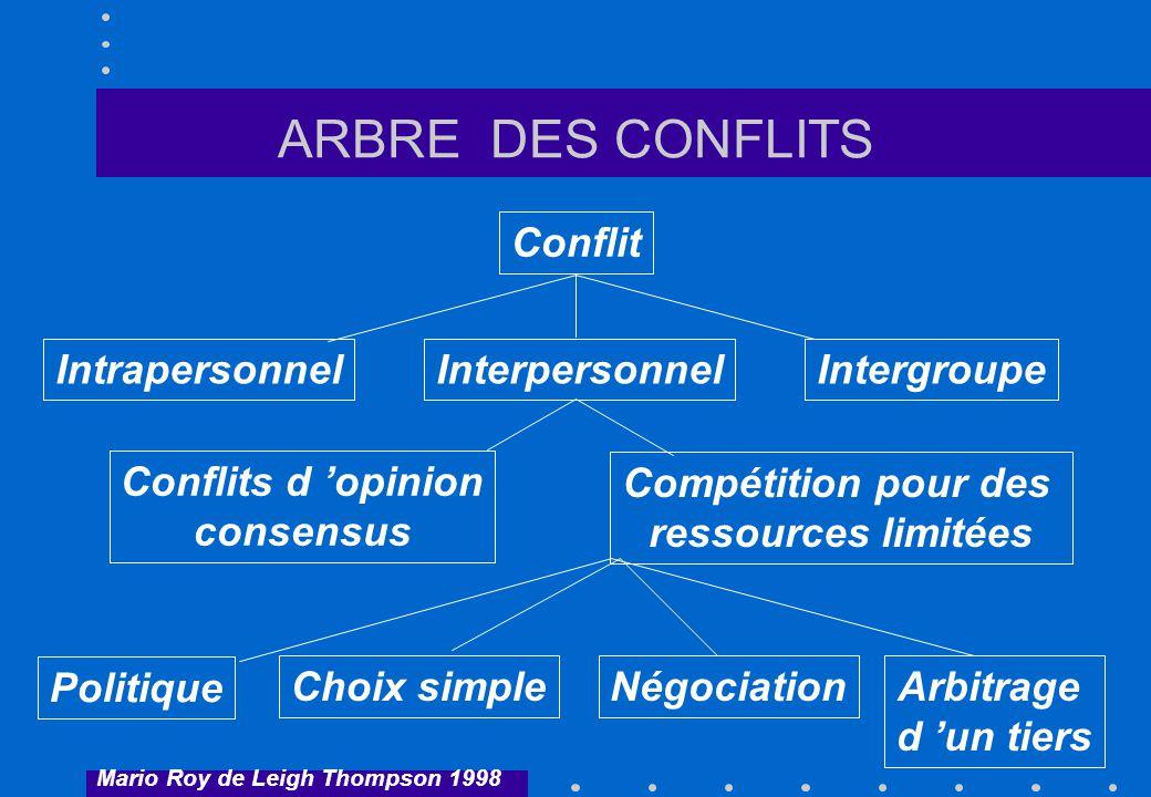 ARBRE DES CONFLITS Conflit InterpersonnelIntrapersonnelIntergroupe Conflits d opinion consensus Compétition pour des ressources limitées Politique Cho