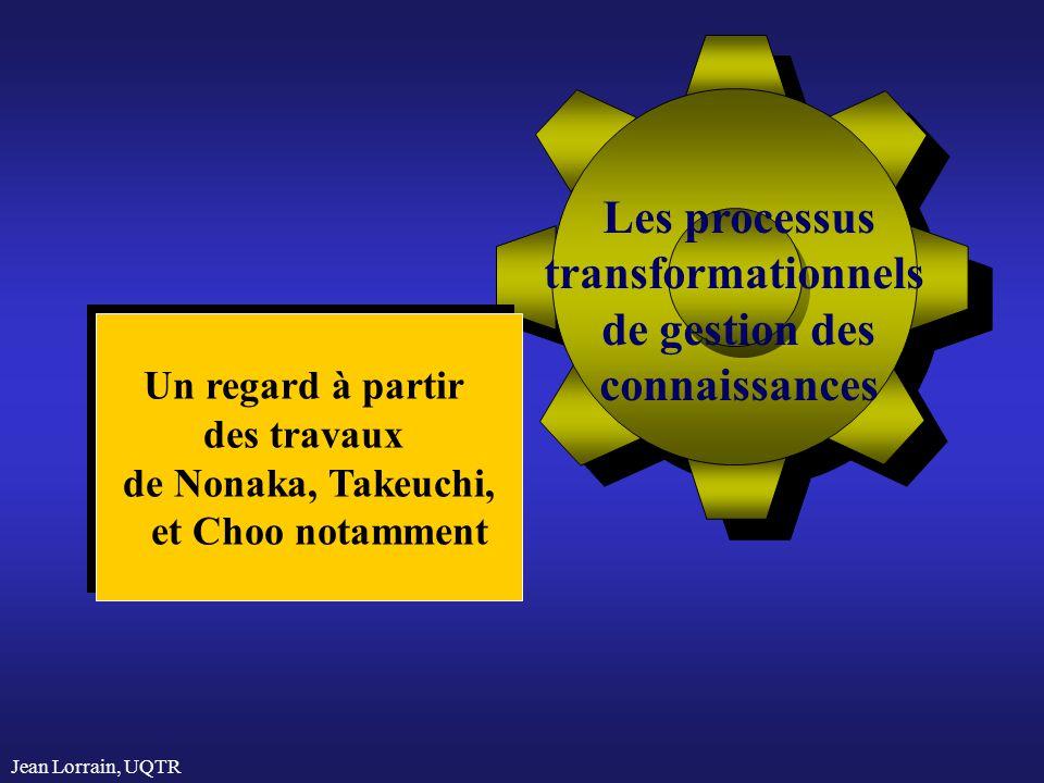 Jean Lorrain, UQTR Les processus transformationnels de gestion des connaissances Un regard à partir des travaux de Nonaka, Takeuchi, et Choo notamment Un regard à partir des travaux de Nonaka, Takeuchi, et Choo notamment
