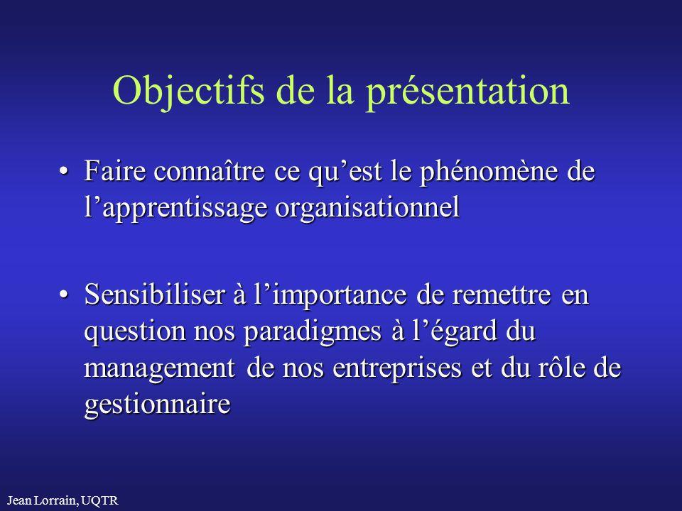 Jean Lorrain, UQTR Objectifs de la présentation Faire connaître ce quest le phénomène de lapprentissage organisationnelFaire connaître ce quest le phé