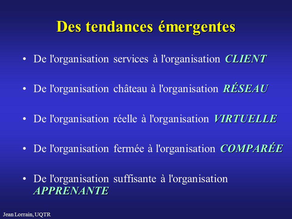 Jean Lorrain, UQTR Des tendances émergentes CLIENTDe l'organisation services à l'organisation CLIENT RÉSEAUDe l'organisation château à l'organisation
