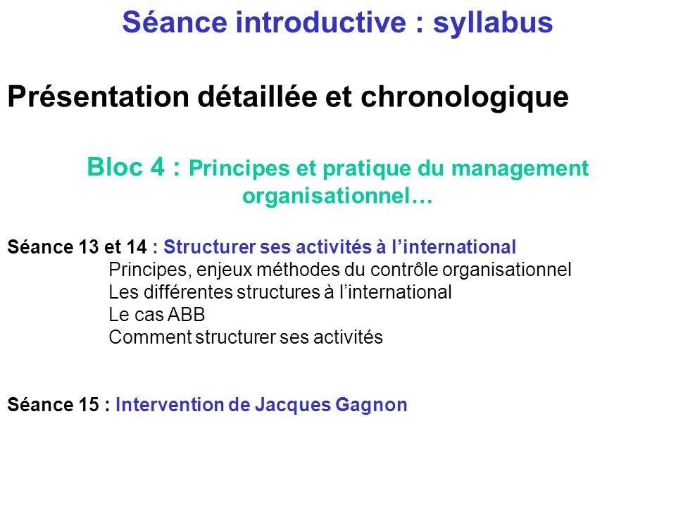 Présentation détaillée et chronologique Bloc 4 : Principes et pratique du management organisationnel… Séance11 : les différents types organisationnels