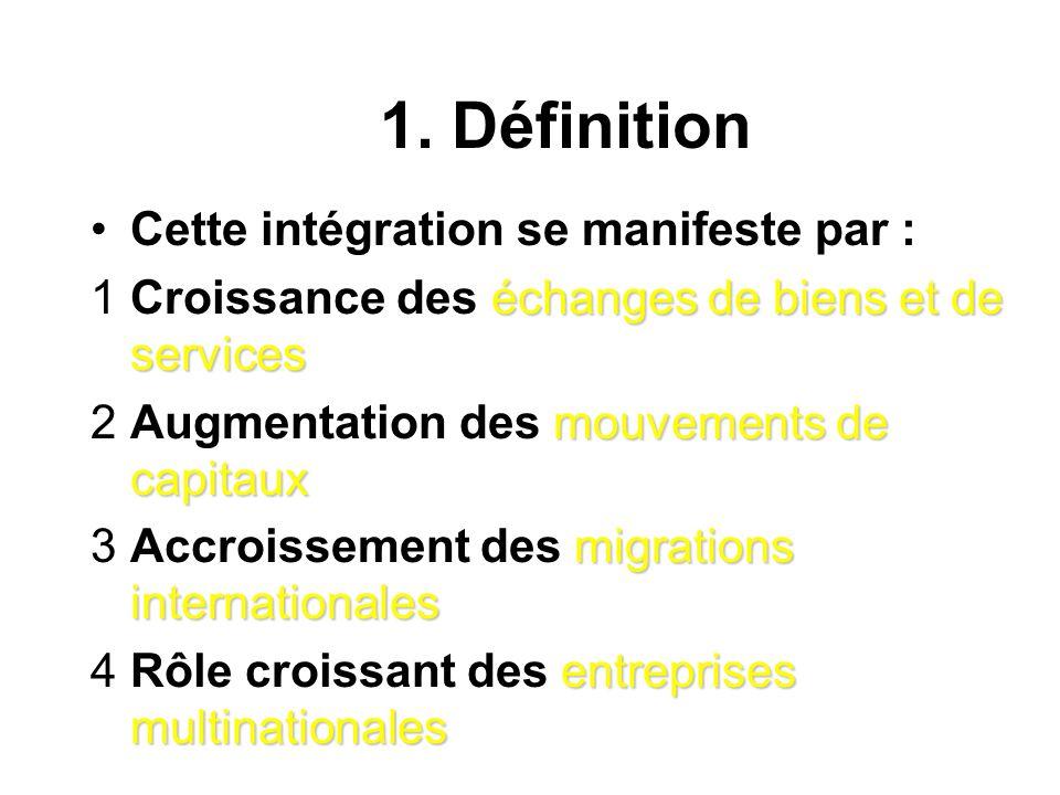 1. Définition distances géographiquesRuud Lubbers (http:/globalize.kub.nl) définit la globalisation comme un processus par lequel les distances géogra