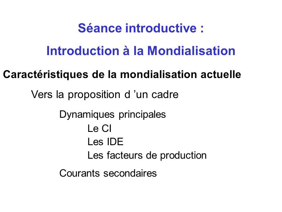 Caractéristiques de la mondialisation actuelle Vers la proposition d un cadre Nécessité d intégration et de structuration Importance relative des vari
