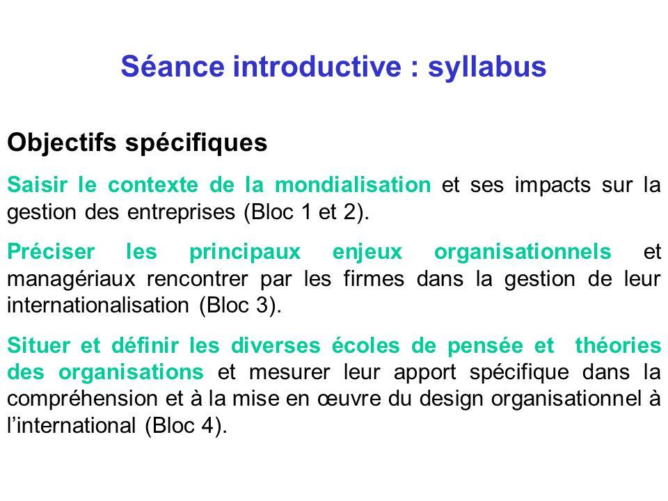 Objectifs spécifiques Saisir le contexte de la mondialisation et ses impacts sur la gestion des entreprises (Bloc 1 et 2).