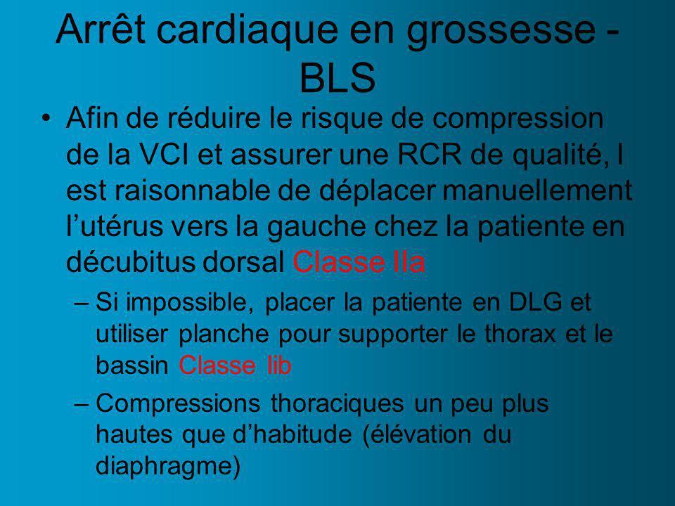 Arrêt cardiaque en grossesse - BLS Afin de réduire le risque de compression de la VCI et assurer une RCR de qualité, l est raisonnable de déplacer manuellement lutérus vers la gauche chez la patiente en décubitus dorsal Classe IIa –Si impossible, placer la patiente en DLG et utiliser planche pour supporter le thorax et le bassin Classe Iib –Compressions thoraciques un peu plus hautes que dhabitude (élévation du diaphragme)