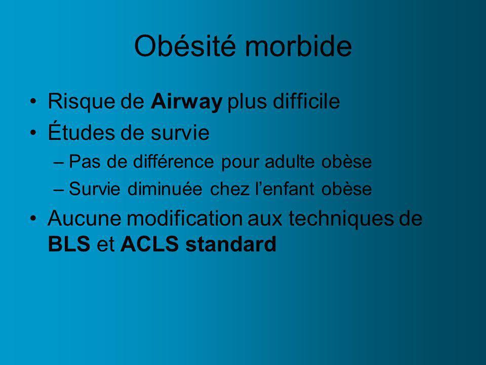 Obésité morbide Risque de Airway plus difficile Études de survie –Pas de différence pour adulte obèse –Survie diminuée chez lenfant obèse Aucune modification aux techniques de BLS et ACLS standard
