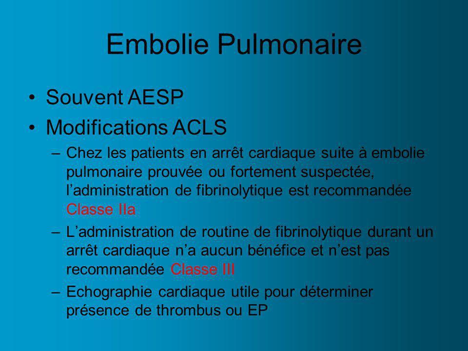Embolie Pulmonaire Souvent AESP Modifications ACLS –Chez les patients en arrêt cardiaque suite à embolie pulmonaire prouvée ou fortement suspectée, ladministration de fibrinolytique est recommandée Classe IIa –Ladministration de routine de fibrinolytique durant un arrêt cardiaque na aucun bénéfice et nest pas recommandée Classe III –Echographie cardiaque utile pour déterminer présence de thrombus ou EP